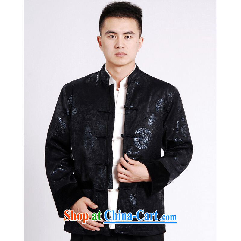 And Jing Ge tang on men's long-sleeved jacket Tang fitted T-shirt men's jacket water marten hairs tang on the cotton Thick Red XXXL, Jing Ge, shopping on the Internet