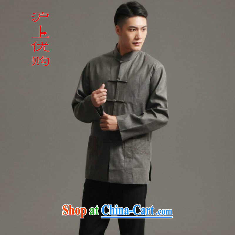 Shanghai, optimize purchase Chinese men's long-sleeved jacket, collar ethnic wind Han-tang - 3 XXXL