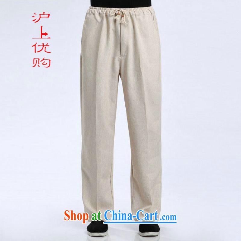 Shanghai, optimize purchase men's short pants elasticated waist cotton linen trousers have been legged pants pants - 1 pants L