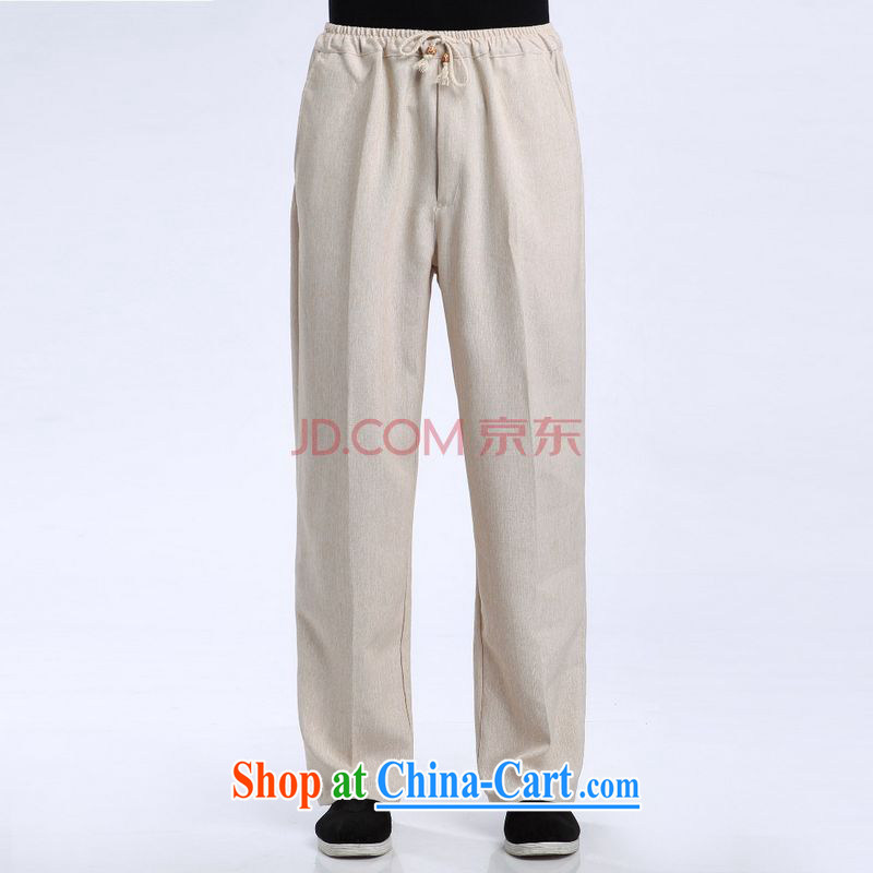The band men's short pants Elasticated waist cotton linen trousers have been legged pants pants - 1 pants XXL