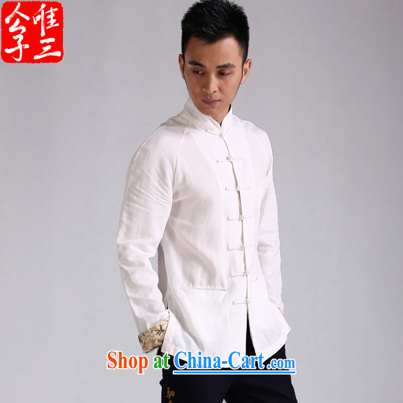 Only 3 Chinese wind Hak Ming Day, MA-tie long-sleeved T-shirt Chinese casual linen and cotton the Chinese shirt and trendy Black Movement (XXL), only 3, shopping on the Internet
