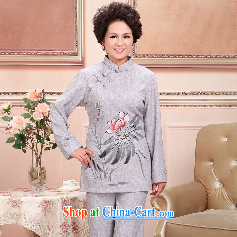 Jing An older Chinese men and women couples taxi loaded spring and fall jacket cotton long-sleeved T-shirt the pants kit, gray suit XXXL