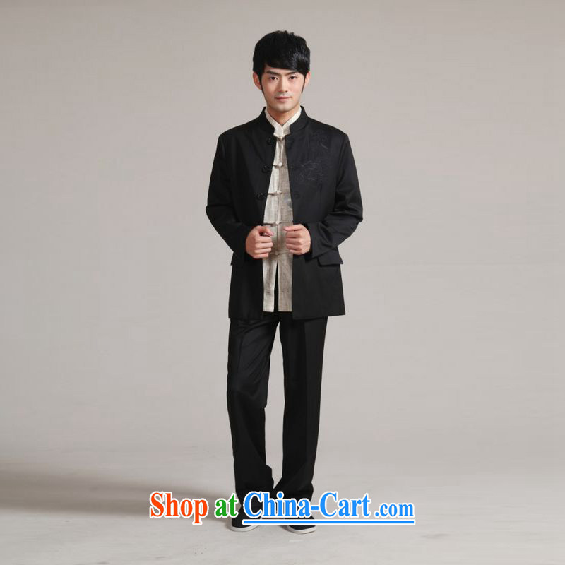 Jing contributed men and smock for Korea version suit coats beauty groom wedding dress Kit - 1 black XXXL