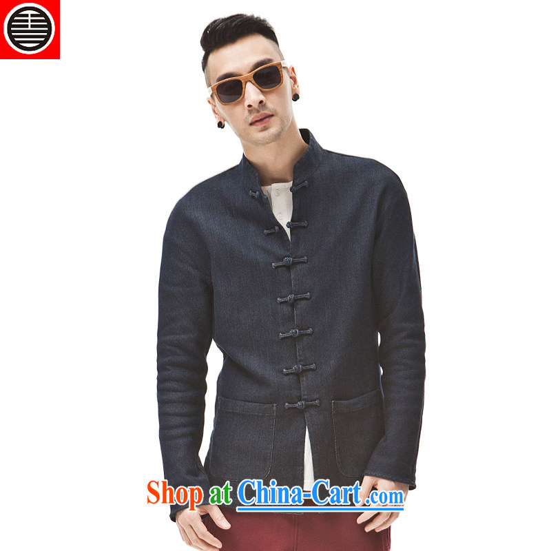 His Excellency took note China wind in Dili Mong knitting cowboy Chinese Chinese jacket beauty and stylish jacket and collar retro T-shirt dark blue L