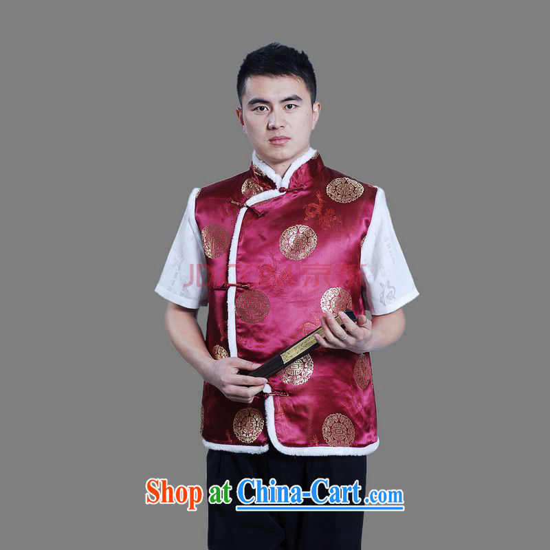 The frequency male Chinese T-shirt men's the cotton waistcoat - C wine red XXL