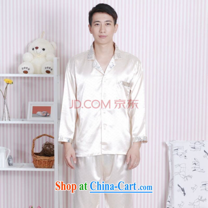 The frequency Tang with men long-sleeved dress men's damask Tang fitted Pajama Set with beige XXL