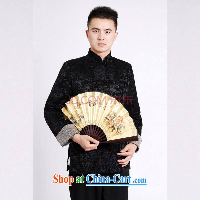 Row-tang with men's long-sleeved jacket Tang fitted T-shirt men's jackets Tang replacing the cotton thick - A black 3 XL