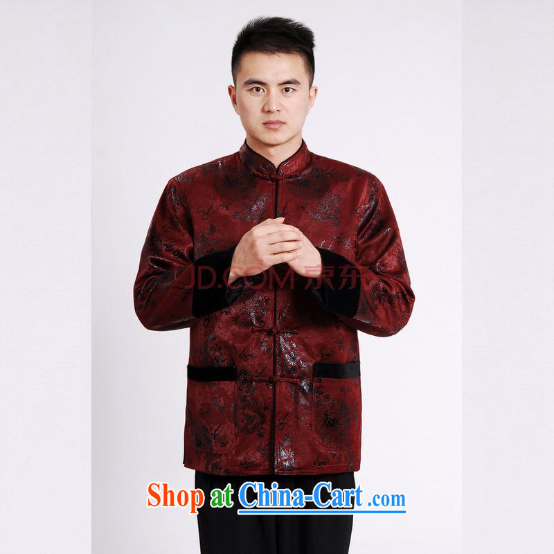 The band men's jacket water marten hairs Tang with the lint-free cloth Chinese men's long-sleeved jacket Chinese Dragon Chinese wine red 3XL