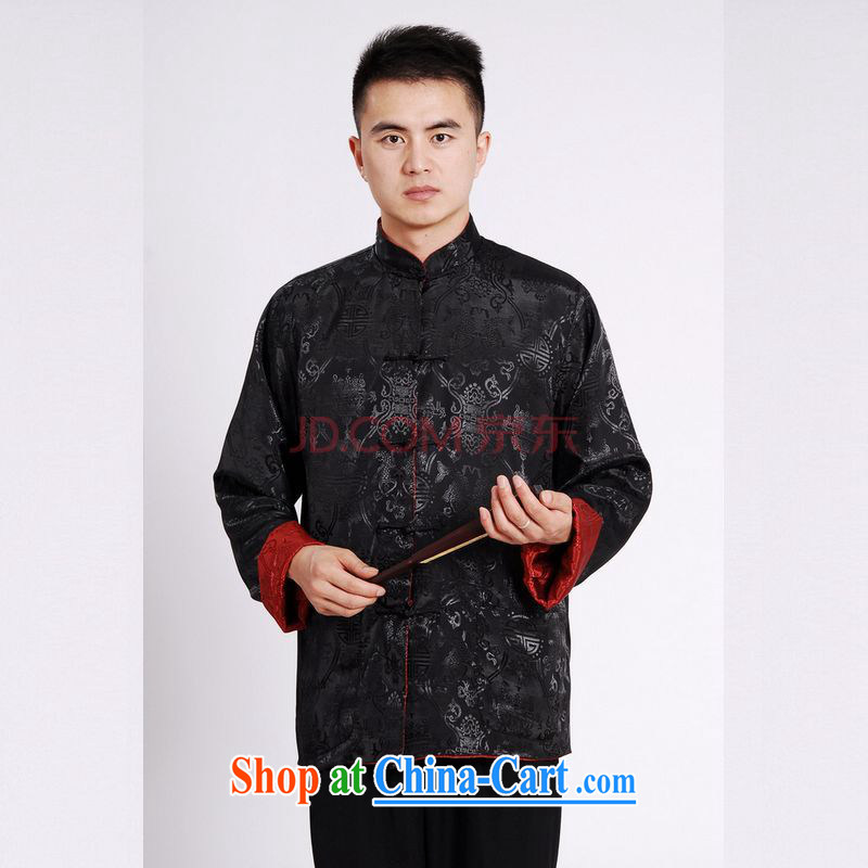 The frequency Chinese men long-sleeved dress men Tang jackets, for double-sided through damask Tang Black + red 3 XL