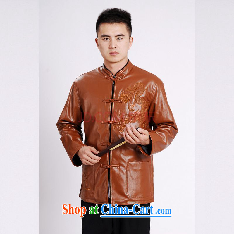 The frequency tang on men's long-sleeved jacket with short T-shirt men's leather jacket water marten hairs Tang with leather jacket and lint-free cloth yellow 3XL, the bandwidth, and shopping on the Internet