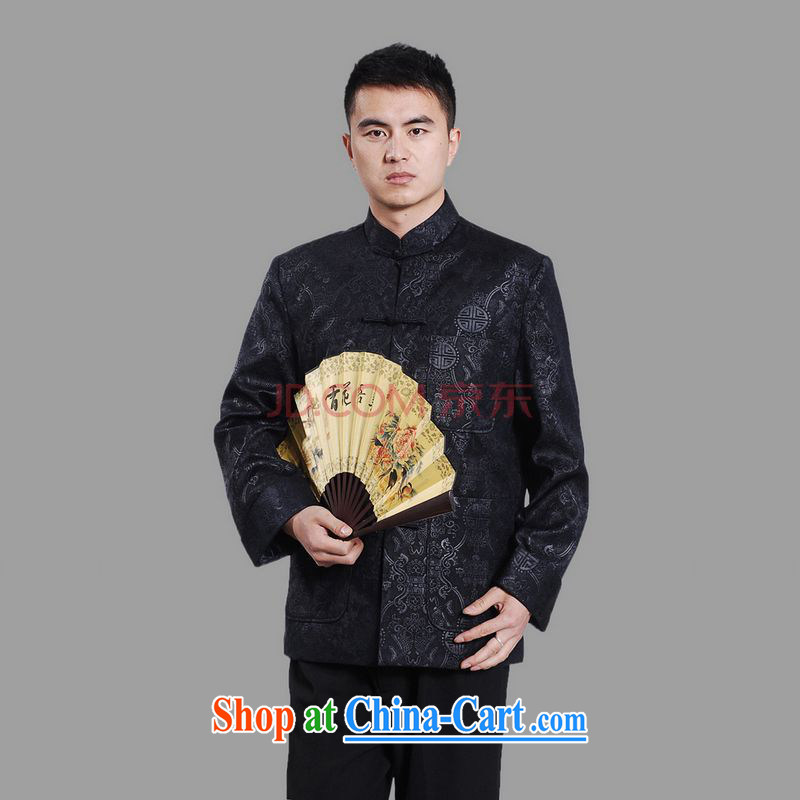 The frequency band Tang with men's long-sleeved dress men Tang jackets, for embroidery Chinese dragon dark 3 XL