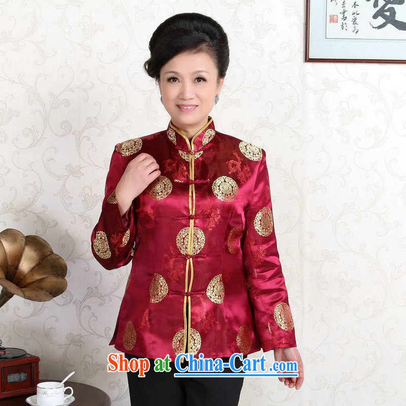 The frequency in older Chinese couples with the leading Chinese wind dress the life jackets wedding Service Performance Serving wine red women M