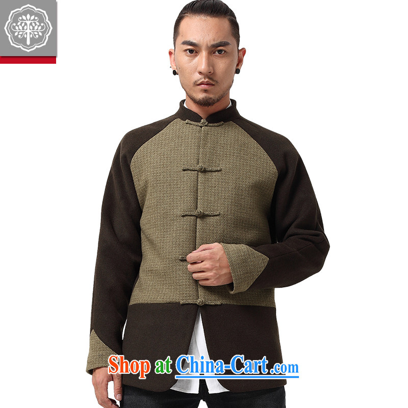 to tree fall and winter wind China Chinese men's long-sleeved Mao jacket? The collar-tie men's tea cyan,