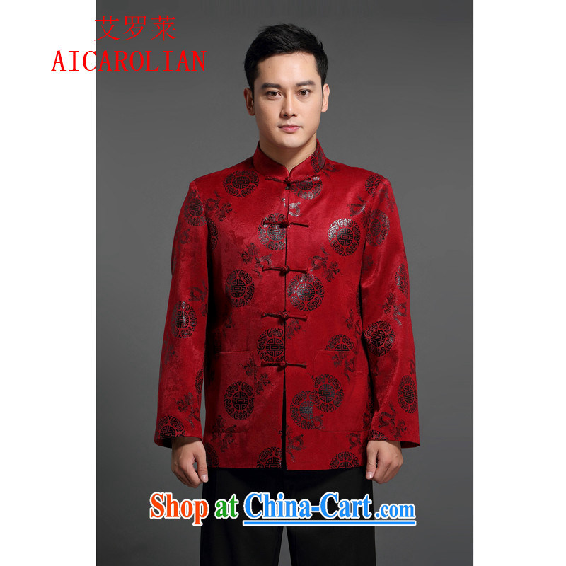 2015 Spring and Autumn and the new, the Adelaide AICAROLIAN long-sleeved jacket China wind Chinese men and national costumes middle-aged men's T-shirt red L
