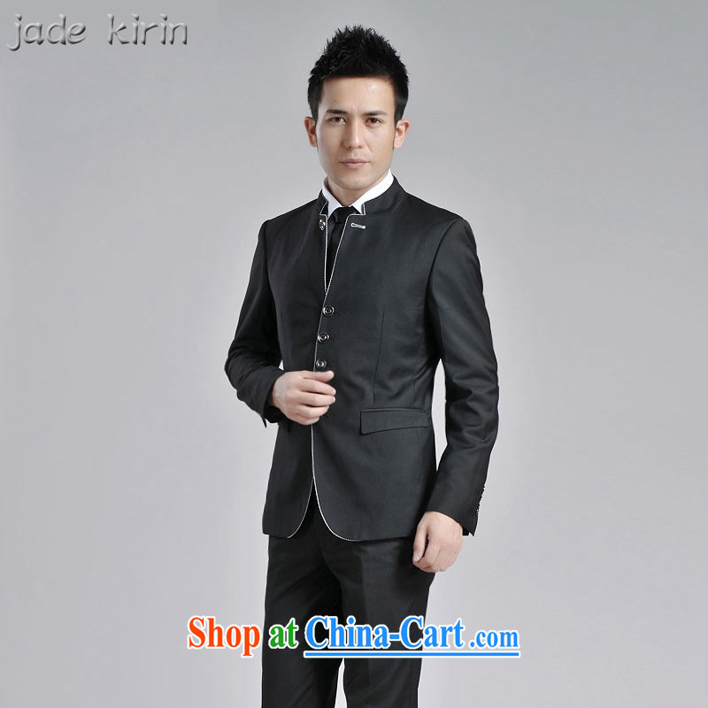 Generalissimo package men and the Chinese Government for Korean Beauty groom, who accompanied by wedding dress, Chinese suit Male and performance service 1619 PTZH black 1619 165/M, jade kirin, shopping on the Internet