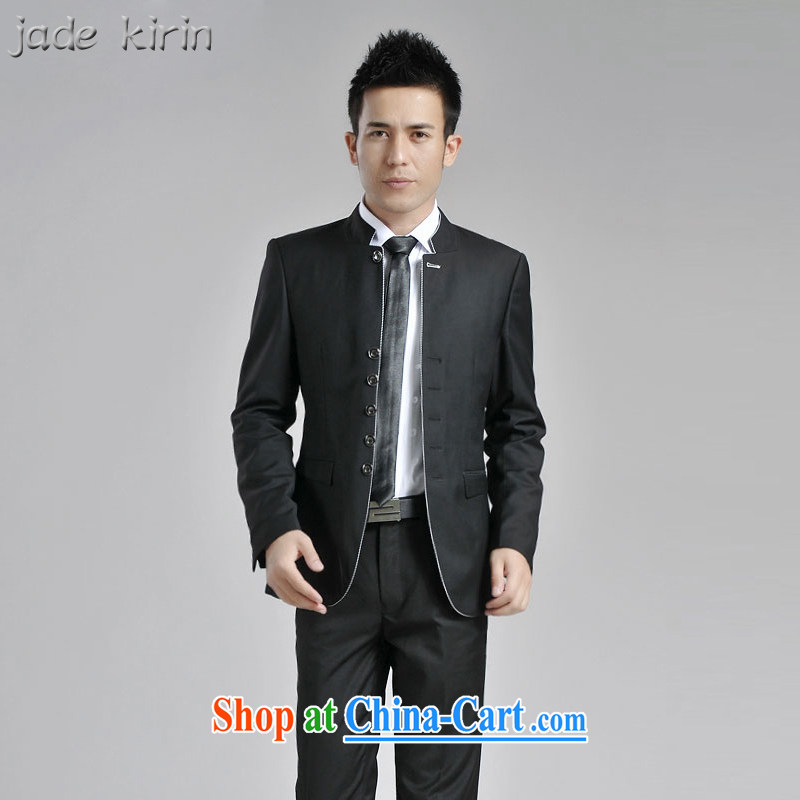 Men's China wind fall_winter New China and smock for men's leisure youth with students suit male and a gray jacket 161,901 PT black 1619 180_XXL