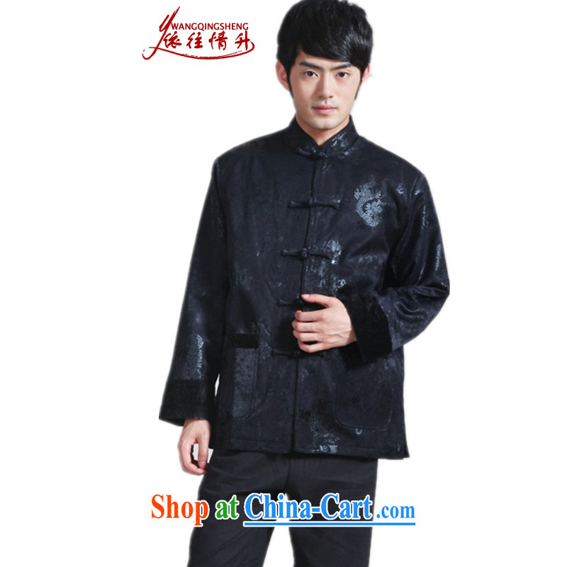 In accordance with the conditions and in the Spring and Winter Fashion new male, suit for stitching father single-buckle Tang with quilted coat - 3 3 XL