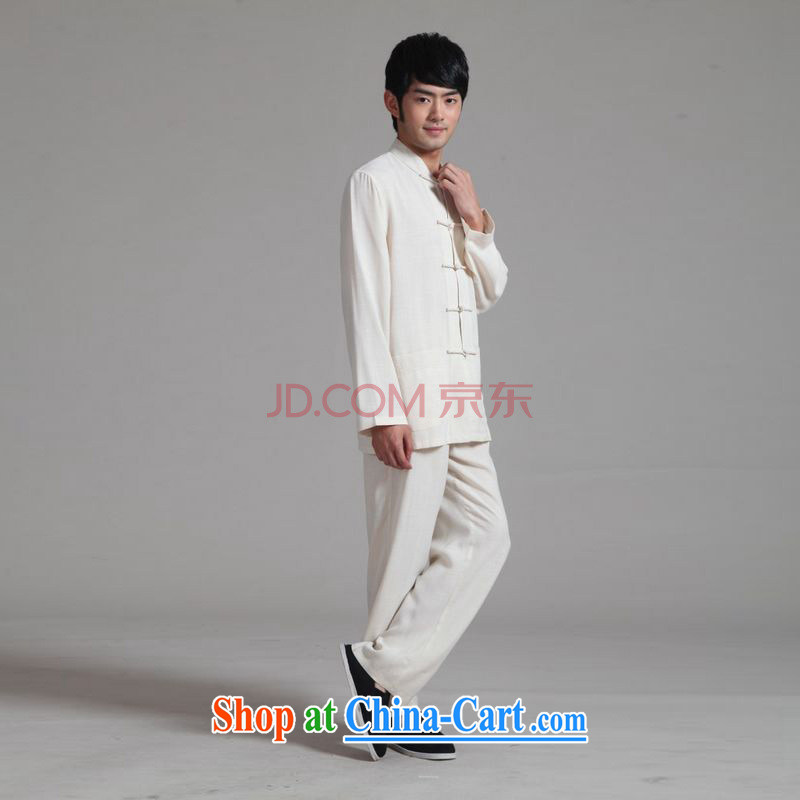 The Frequency Male Tang with long-sleeved set up for the cotton shirt Kung Fu Tai Chi clothing - 2m White Kit 3 XL