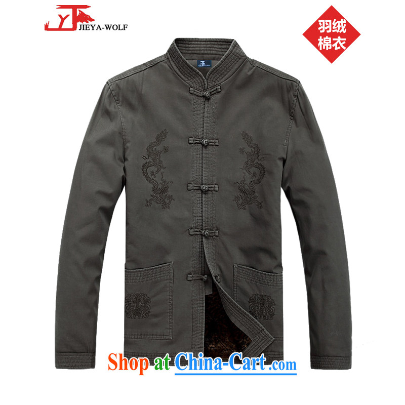 Cheng Kejie, Jacob - Wolf JIEYA - WOLF New Tang with men's long-sleeved winter clothes T-shirt men's Tang with casual male-pile in the country, feather cotton suit card its 190_XXXL