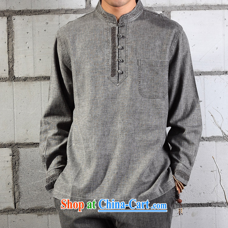 cotton linen clothing - meditation natural cotton Ma T-shirt embroidery Chinese Tang replace YL 041 - 87 light gray _XL_