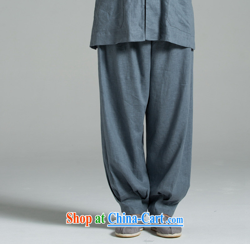 Cotton Ma - meditation/cynosure serving Japanese summer cool washable cotton The hushing trousers YHF 008 blue gray blue gray 2XL (3 days)