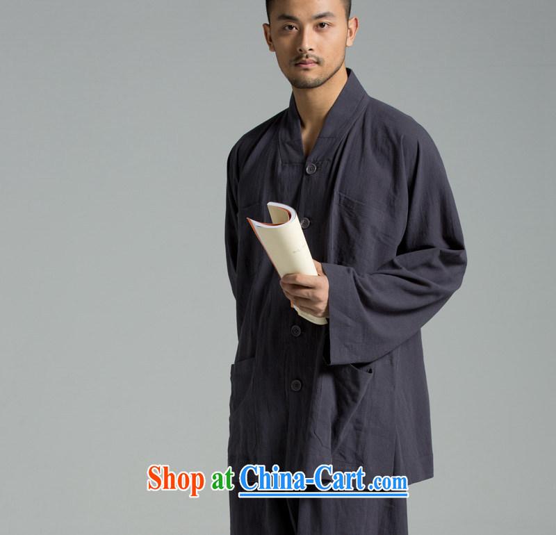 Cotton Ma - Buddhism/meditation Thailand summer cool washable cotton robe short YXS use 02 - 307 dark gray 185/100 (XXL)