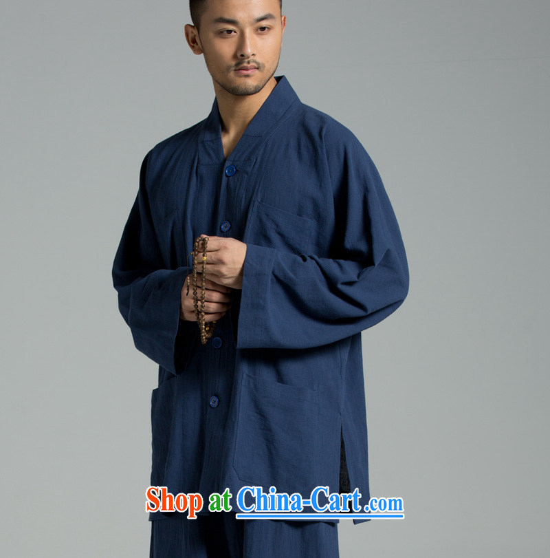 Cotton Ma - plant dyeing Thailand summer cool washable cotton monk serving short use YXS set 02 - 308 dark blue XXL