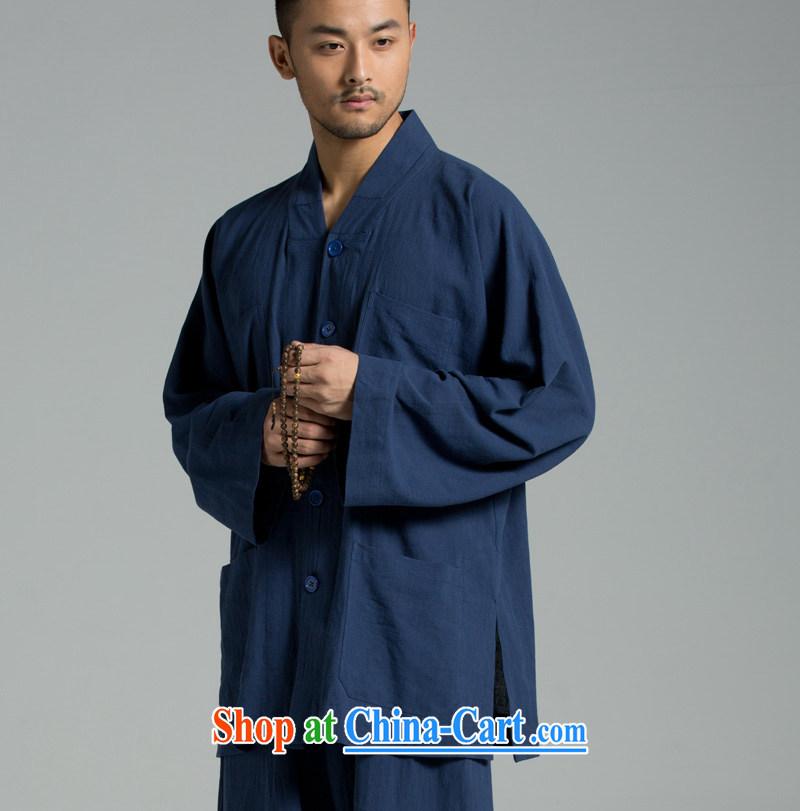 Cotton Ma - plant dyeing Thailand summer cool washable cotton monk serving short use YXS set 02 - 308 dark blue XXL