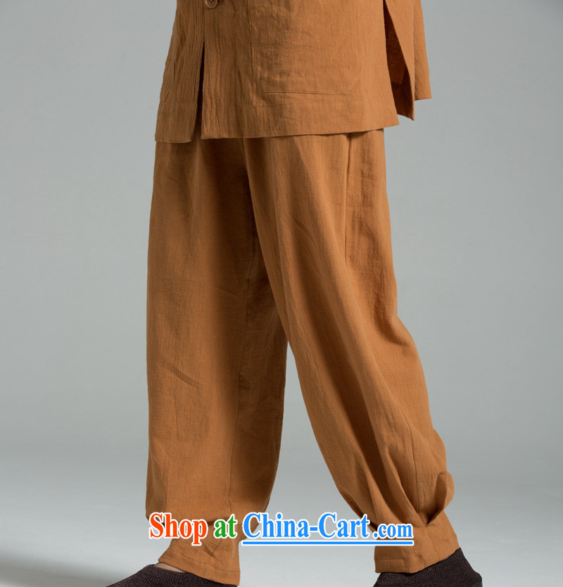 Cotton Ma - meditation/cynosure serving Thai summer cool washable cotton meditation pants YHF 008 Buddhist Wong brown 2 XL (3 days)