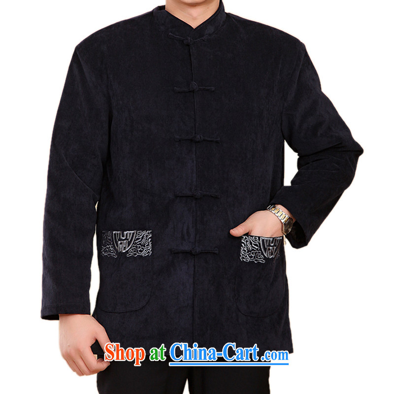 F 2059 middle-aged and older Chinese men quilted coat jacket Chinese men's Chinese Winter load cotton clothing celebrating birthday gift blue XXXL_190