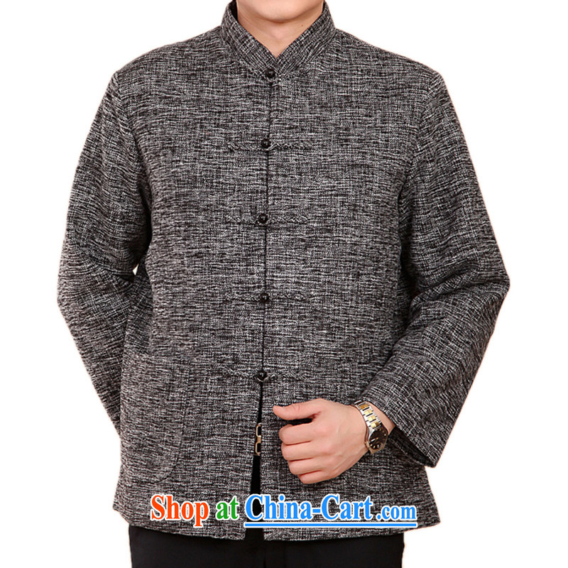 F 2073 new autumn and winter thick Tang loading in the older men and Tang with the cotton Chinese men and quilted coat jacket gray XXXL_190