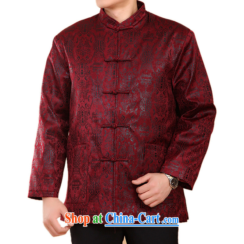 FN double-fish and cotton, older men and Tang with autumn and winter Tang clothing Howard YOUNG hearts, the Cotton long-sleeved Chinese ethnic Chinese clothing wine red XXXL_190