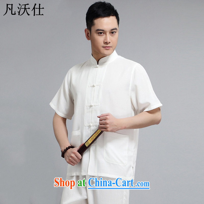 Where Kosovo Mr Rafael Hui 2015 spring and summer China wind men's T-shirt with short sleeves, older Chinese men's cotton Ma national costumes Chinese Tai Chi kung fu T-shirt jacket cotton Ma white package 175 (130 - 150 ) jack