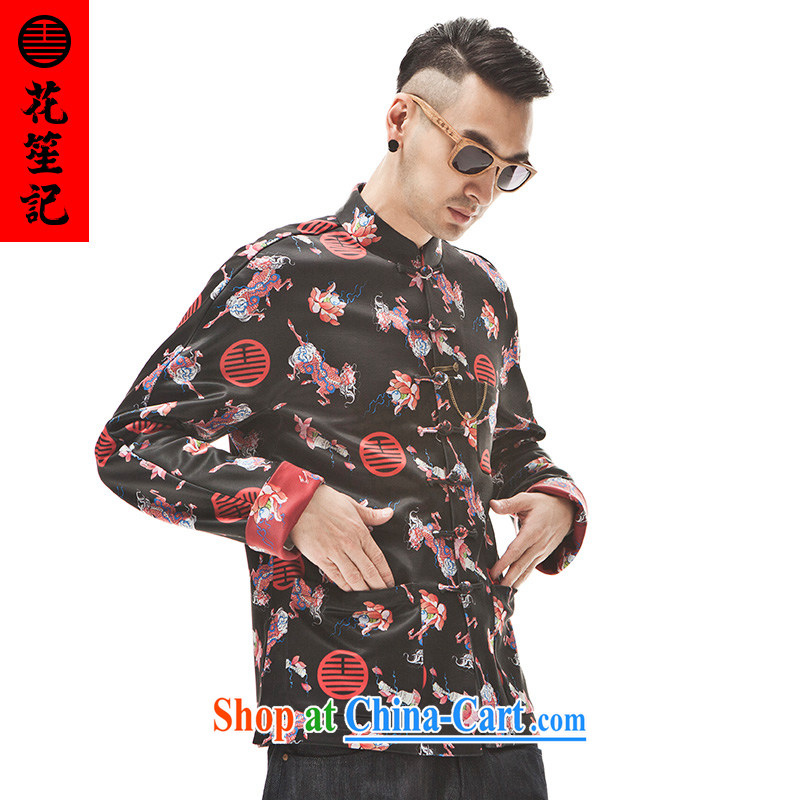 Take Your Excellency's wave of Dubai Kirin men's stylish Sau San Tong with Chinese T-shirt Ethnic Wind fall and winter coat black L
