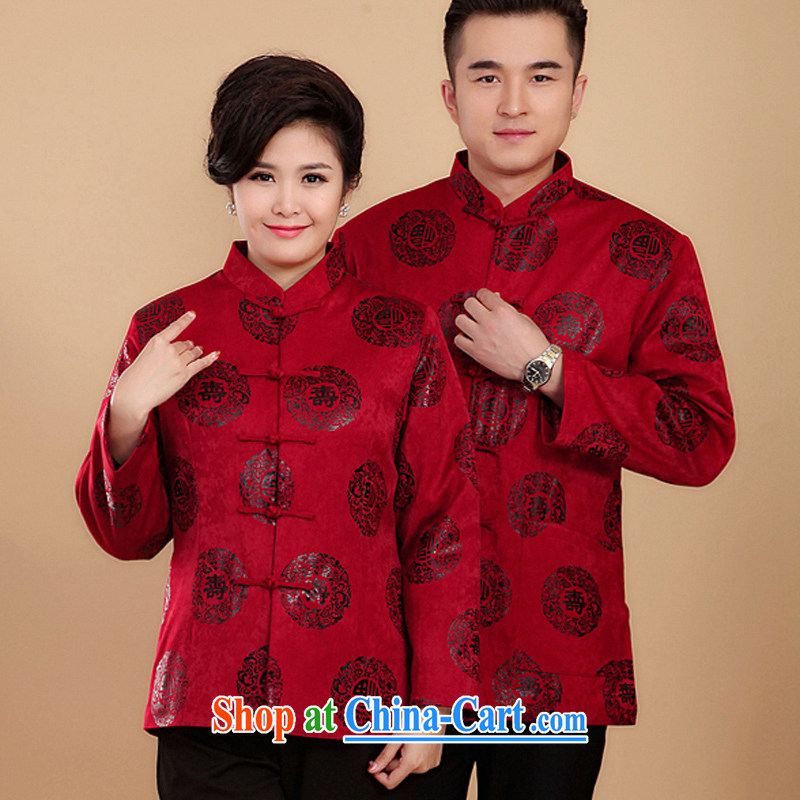 To explosion in Spring and Autumn and older well-shou-couples with Mom and Dad birthday life clothing men and women red Tang jackets Red Spring and Autumn Ms. section_XL