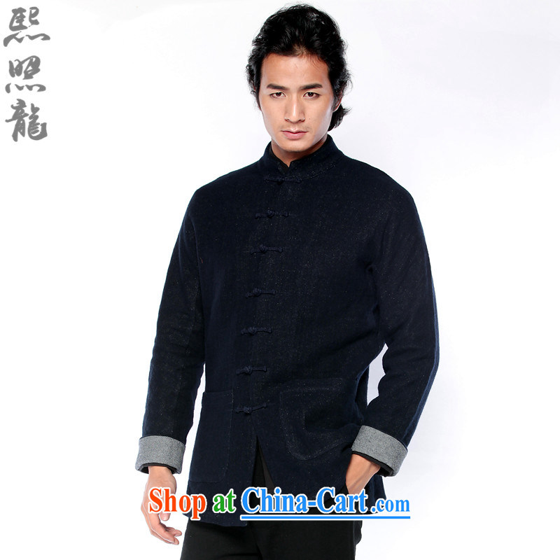 Hee-snapshot Dragon winter new cotton Ma jacket Chinese men Chinese clothing T-shirt rustic flimsy cotton Ma wrinkle ripstop taffeta overlay dark blue L