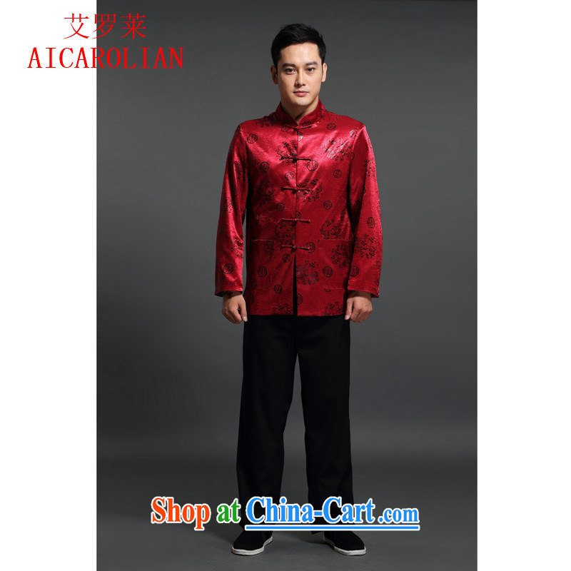 China wind Cotton Men, AIDS, Chinese men and long-sleeved jacket Chinese Spring classical Han-serving Nepal Red XXXL
