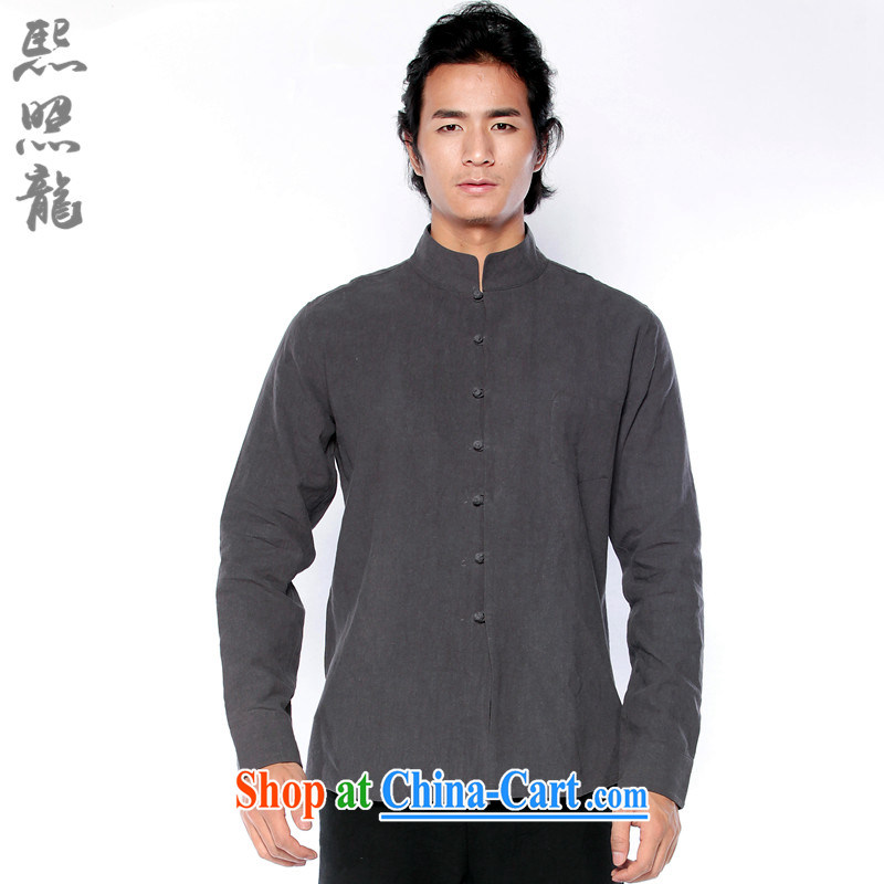 Hee-snapshot Dragon China wind cotton shirt the men's autumn decoration, shirt, long-sleeved sweater for improved dark gray and dark gray XL