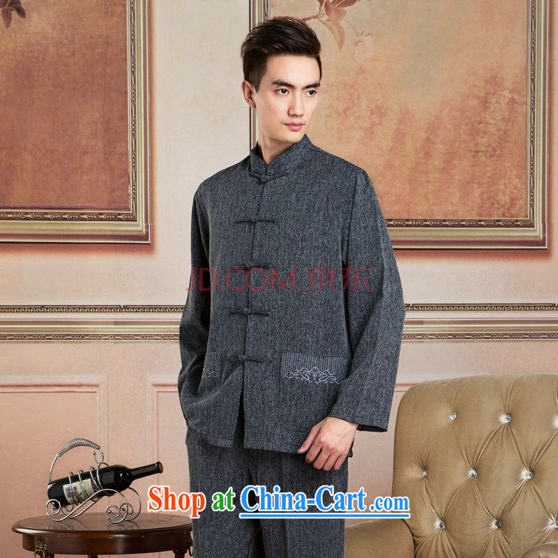 Cotton Joseph Tang replacing men long-sleeved jacket, collar cotton linen Chinese Kung Fu T-shirt Tai Chi clothing - 2 T-shirt XXXL