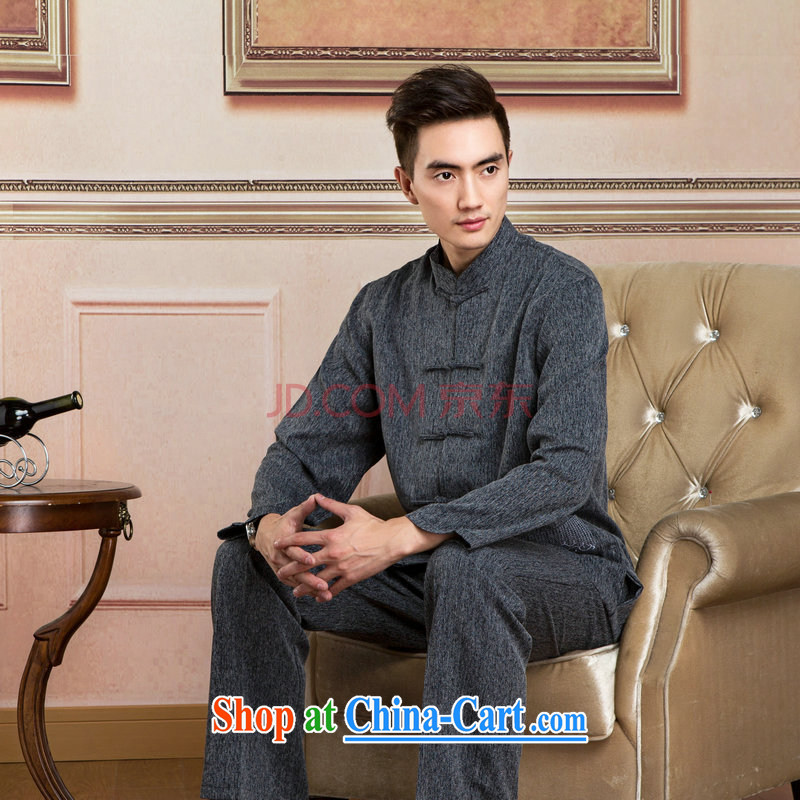 Cotton Joseph Tang replacing men long-sleeved jacket and collar cotton linen Tang replacing kit kung fu T-shirt Tai Chi Kit Kit - 2 Kit XXXL