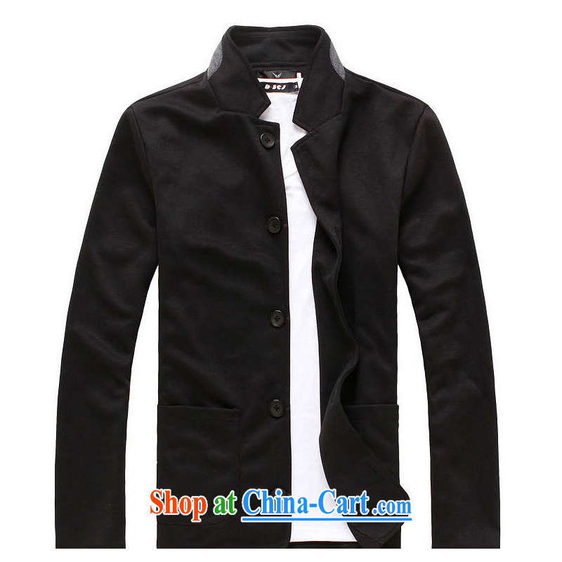 2015 new hot selling men and smock collar suit Korean leisure smock cultivating students suit SCXF 004 black L