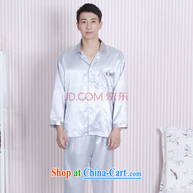 Cotton Joseph Tang replacing men long-sleeved dress men's damask Tang fitted Pajama Set - A gray XXL