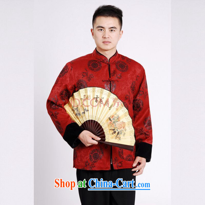 Cotton Joseph Tang replacing men long-sleeved jacket Tang fitted T-shirt men's jacket water marten hairs tang on the cotton Thick Red XXXL, Joseph cotton, shopping on the Internet