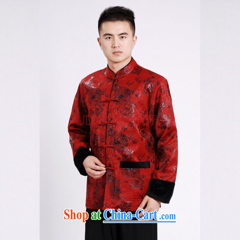 Joseph's cotton men's jacket water marten hairs Tang with the lint-free cloth with short men's long-sleeved jacket Chinese Dragon Chinese T-shirt red XXXL