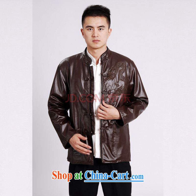 Cotton Joseph tang on men's long-sleeved jacket Tang fitted T-shirt men's leather jacket water marten hairs Tang with leather jacket and lint-free cloth brown XXXL, Joseph cotton, shopping on the Internet