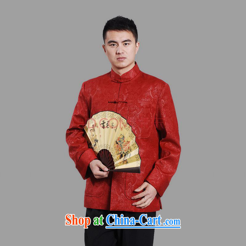Cotton Joseph Tang with men's long-sleeved dress men Tang jackets, for embroidery Chinese dragon red XXXL