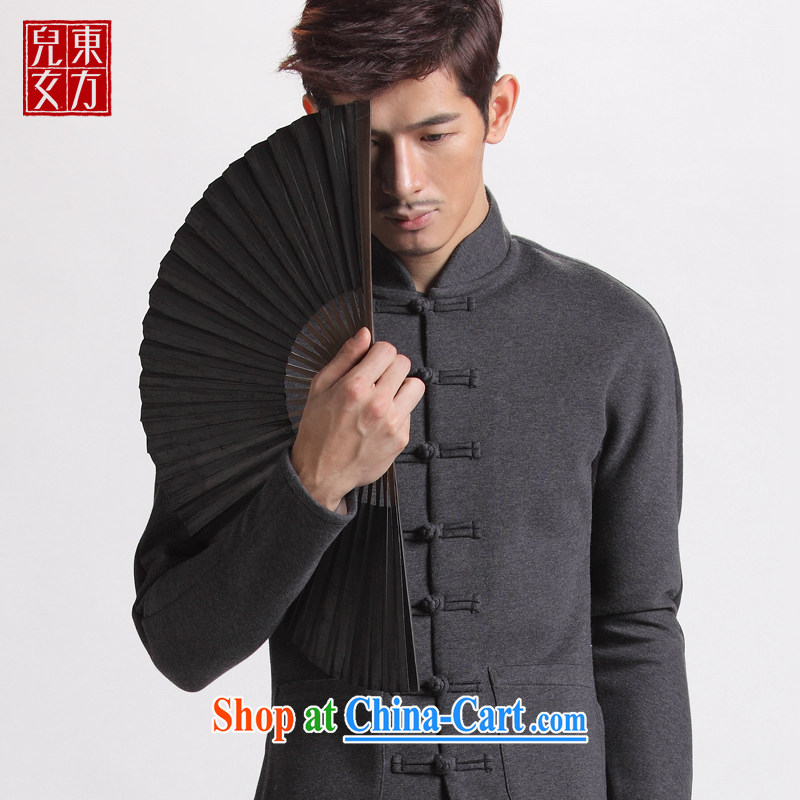 Oriental children ethnic-tie jacket men, for winter clothing and stylish China wind Original Design cotton Tang jacket dark gray 190/XXXXL