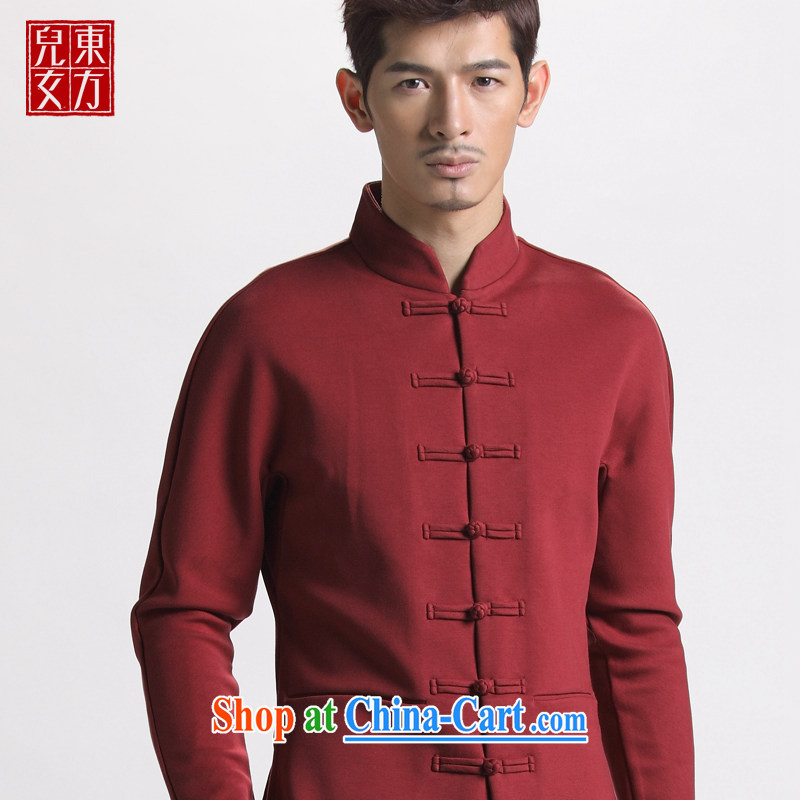 Oriental children modern China wind plain-color winter-buckle Tang jackets youth beauty lounge National wind jacket wine red 185_XXXL