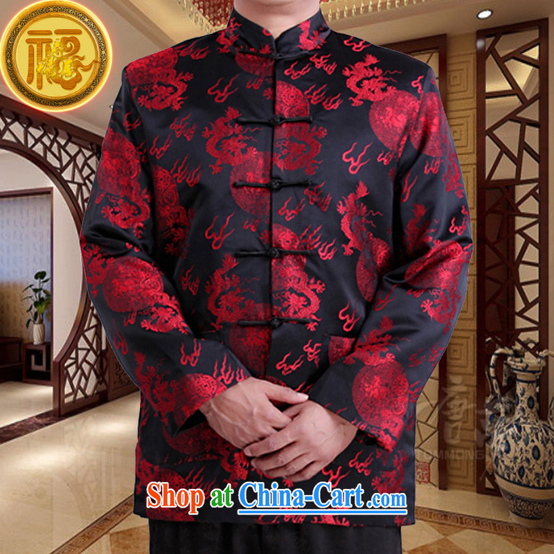 Federation, Mr Tang poetry with men and older men and Chinese Spring and Autumn 2015 New Dragon Chinese manual tray snap national costumes, Chinese collar Tang jackets black 190/XXXXXL