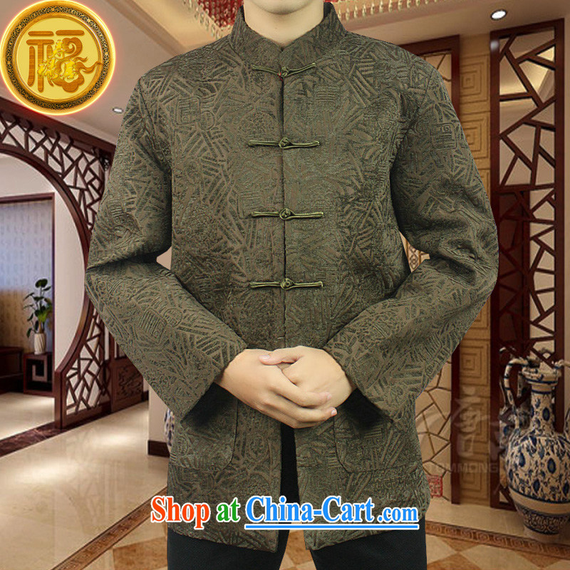 Federal Bob poetry high-end Chinese male, older men and Chinese Spring 2015 new Chinese hand-tie heavy jacquard Chinese, for Tang jackets coffee 190_XXXXXL